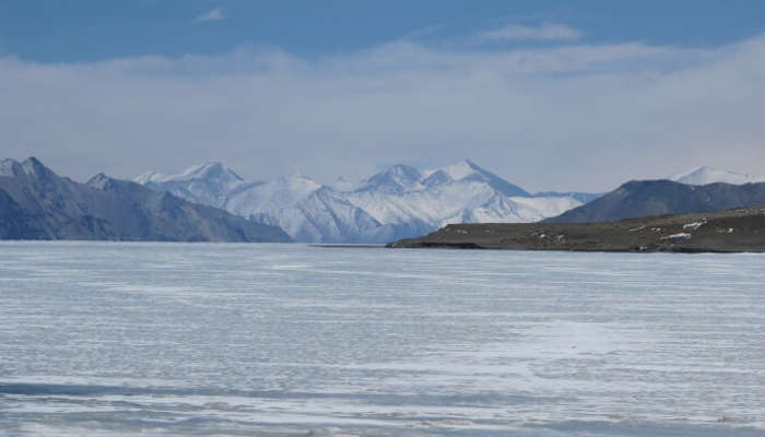 Frozen Pangong Lake during Winter