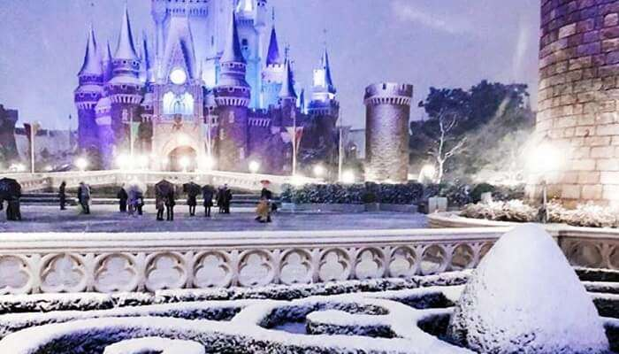 Disneyland got covered in snow