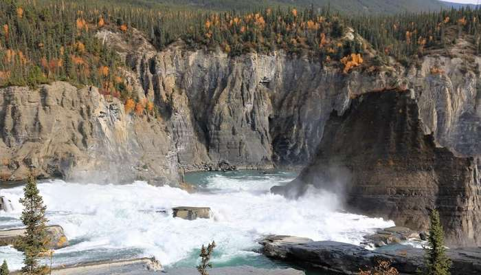 a gorgeous waterfall in Nahanni National Park