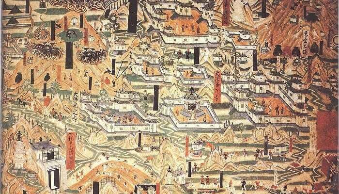 Mogao_Cave_61,_painting_of_Mount_Wutai_monasteries