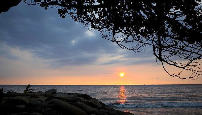 glorious sunset at the famous beach in nusa dua