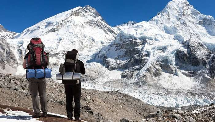 trekking through mountains