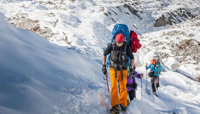 trekking in snowy mountains