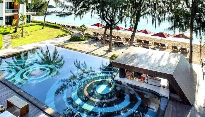 beautiful pool view of idyllic resort