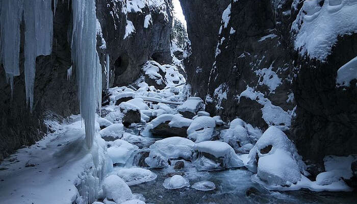 ice capped rocks