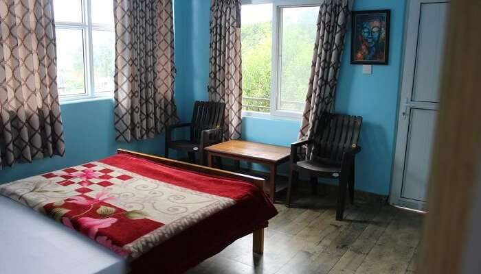 homestay bedroom overlooking mountains