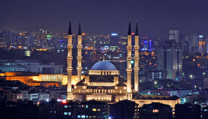 view of Kocatepe Mosque in night