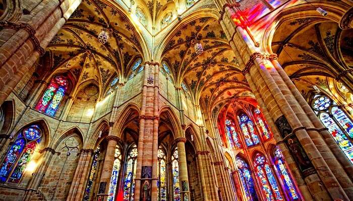 stained glass windows inside