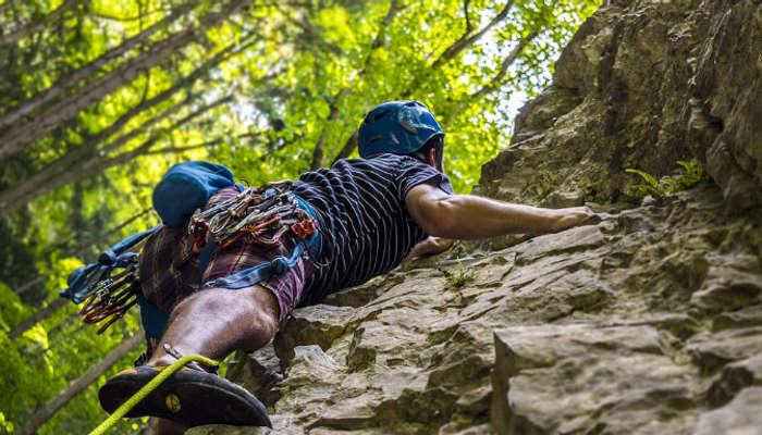 Rock climbing in Hattiban, Nepal
