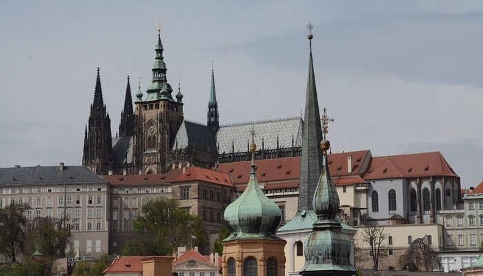 Heaven Church Towers Building City Prague