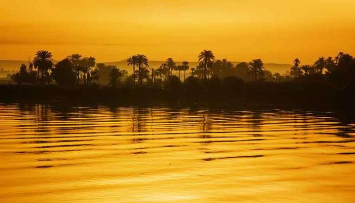 the nile painted yellow during sunset