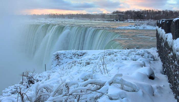 Sight of frozen Niagara falls