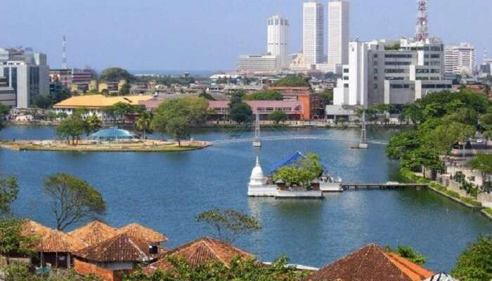 aerial view of sri lankan city colombo