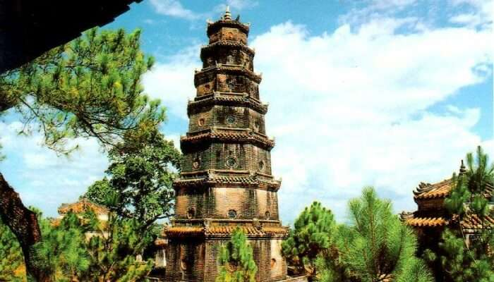 temple erected amidst trees