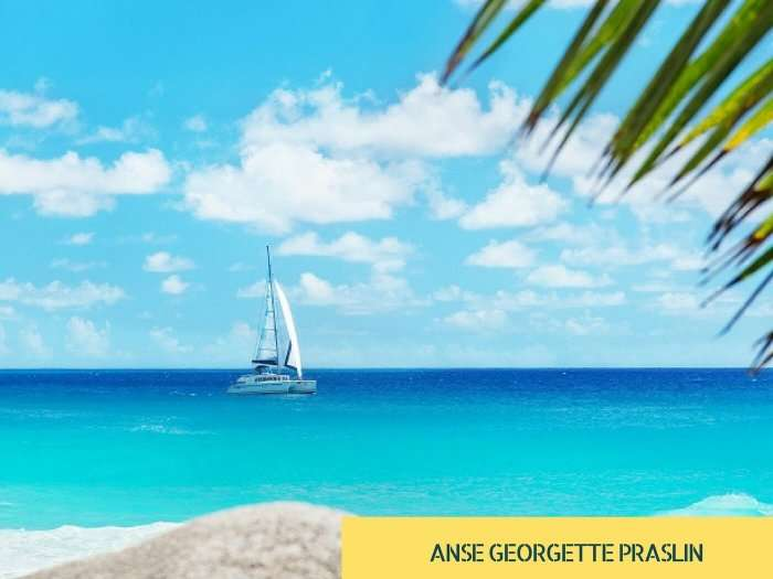 The gorgeous beach of Anse Georgette on Praslin island of Seychelles