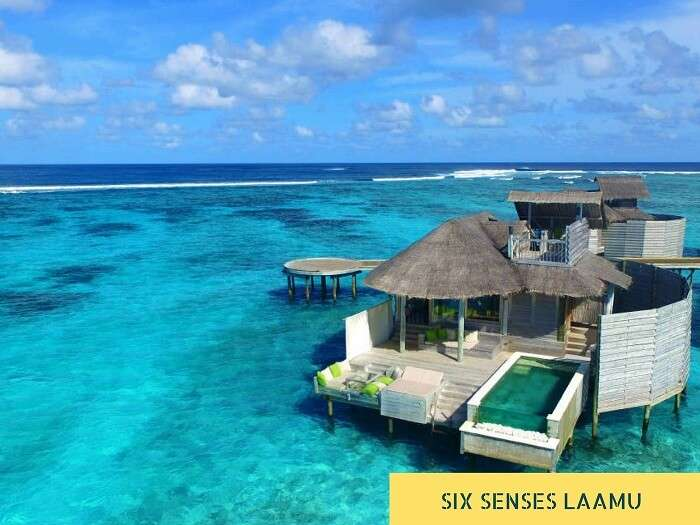 The overwater villa with pool at the Six Senses Laamu resort in Maldives