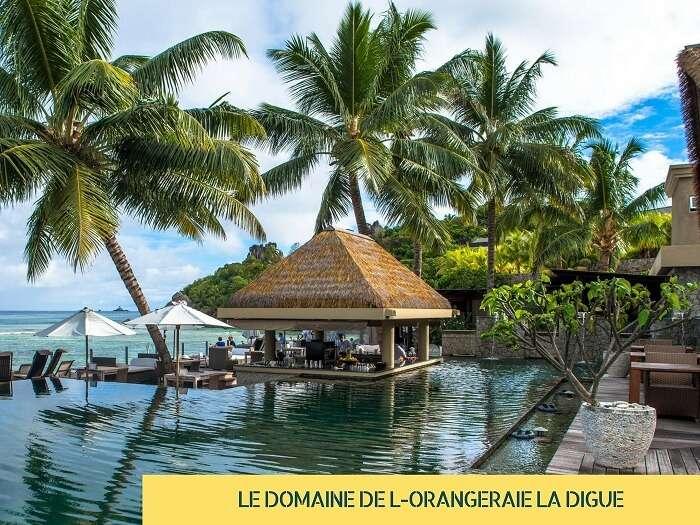 A view of the pool at Le Domaine de L-Orangeraie on La Digue island