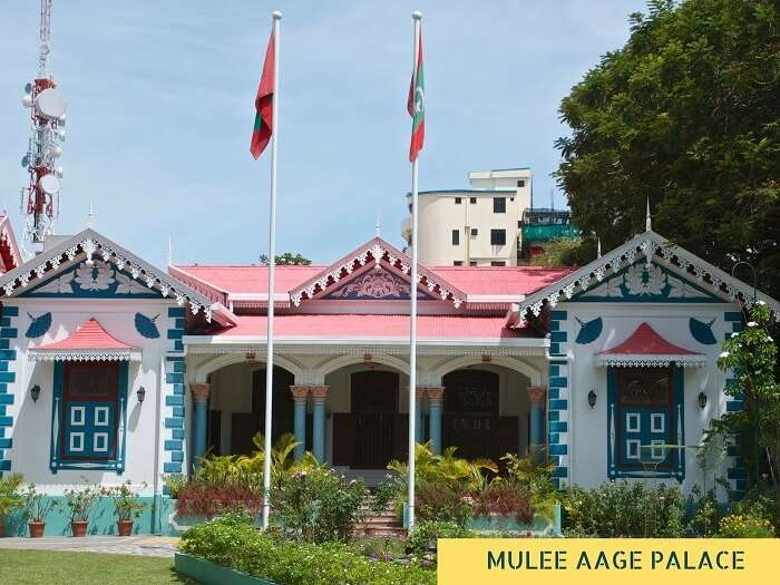 The entrance of the Mulee Aage Palace in Maldives