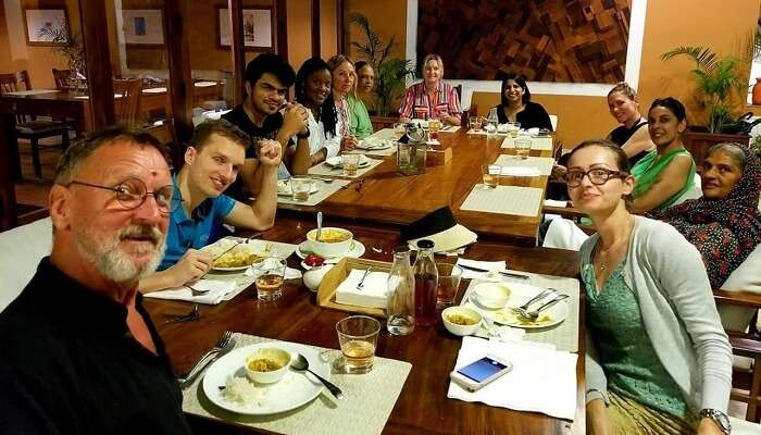 Guests from across the world dining together