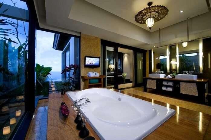 lavish bathroom with bathtub in banyan tree ungasan