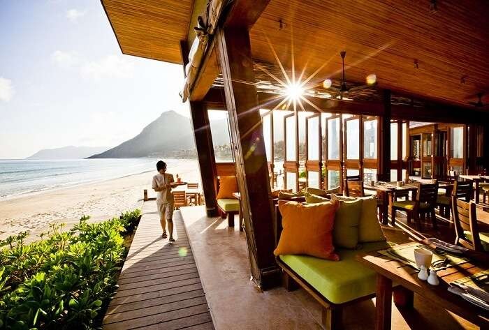 The beach restaurant at Six Senses Con Dao resort in Vietnam