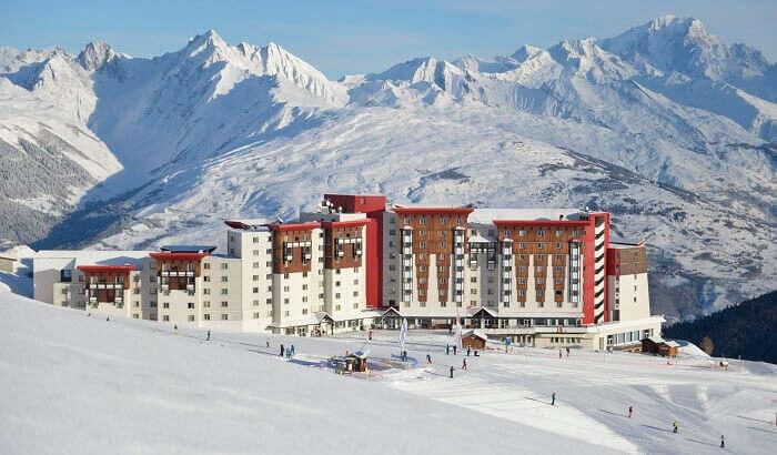 A view of the Club Med Hotel at La Plagne ski resort