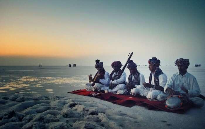 A cultural performance on a full moon night of Rann Utsav