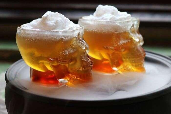 crafty way to serve drinks at Gabbar's Bar and Kitchen