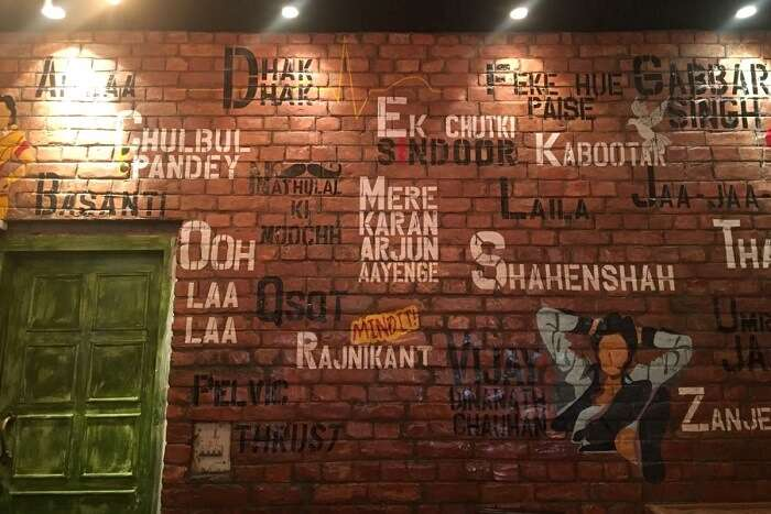 wall art at Gabbar's Bar and Kitchen