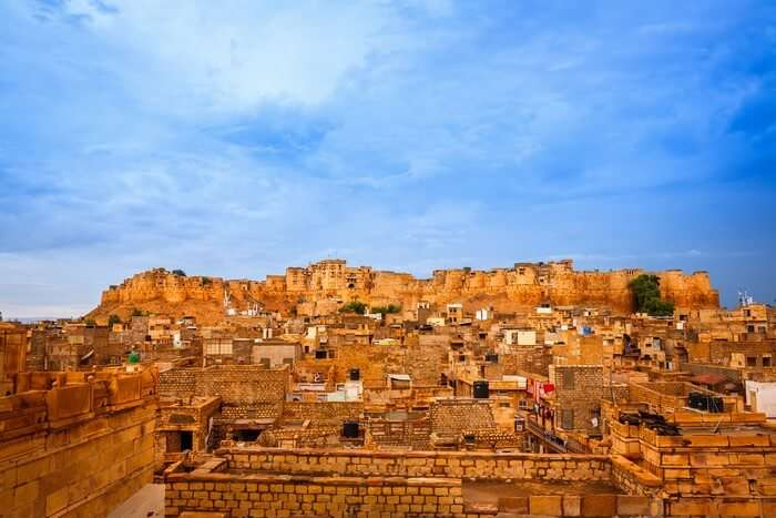 An aerial view of the Jaisalmer Fort which is among the most popular places to visit in Rajasthan