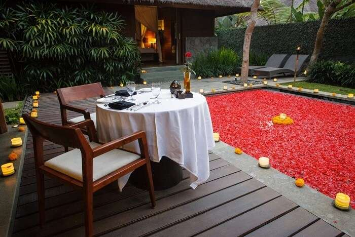 honeymoon suite with dining area and gorgeous private pool in Kayumanis Ubud Private Villas & Spa