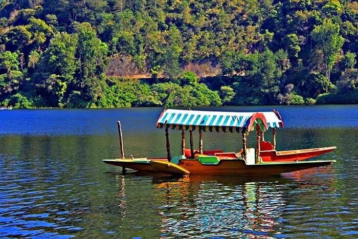 A lone shikara rowing in the Kundala Lake at Munnar