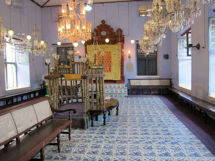 Beautiful interiors of Paradesi Synagogue in Cochin