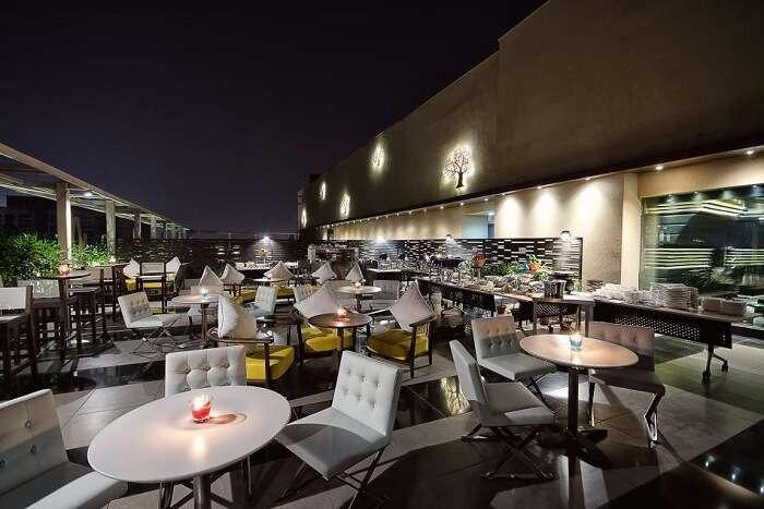 open air seating of Smoke Shack at night