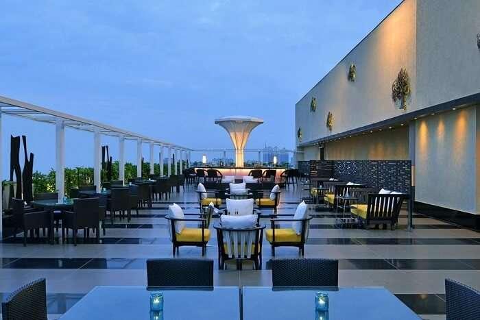 lavish open air seating of Smoke Shack during evening