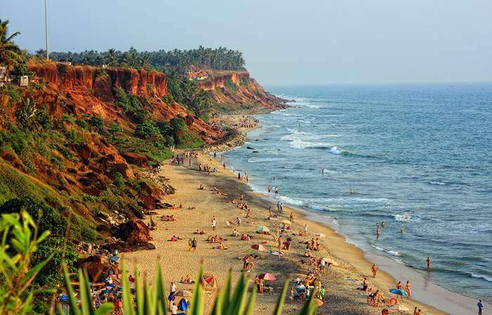 The happening Varkala beach which is one of the best places to visit in Kerala