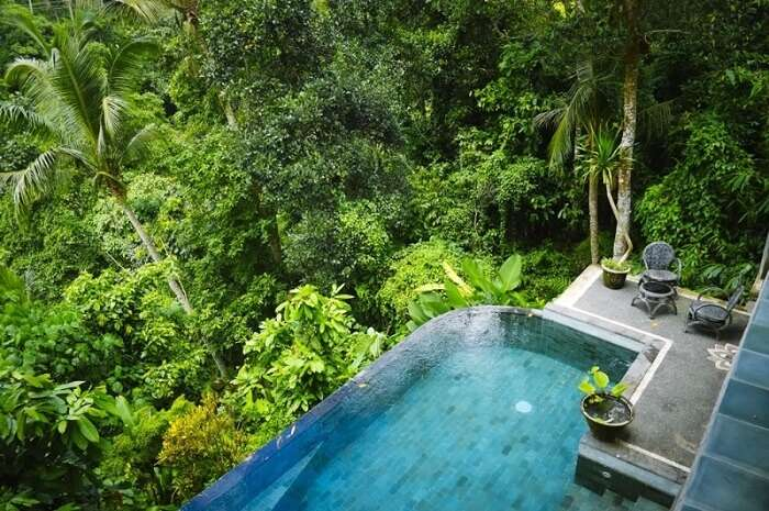 room with private pool in villa awang awang