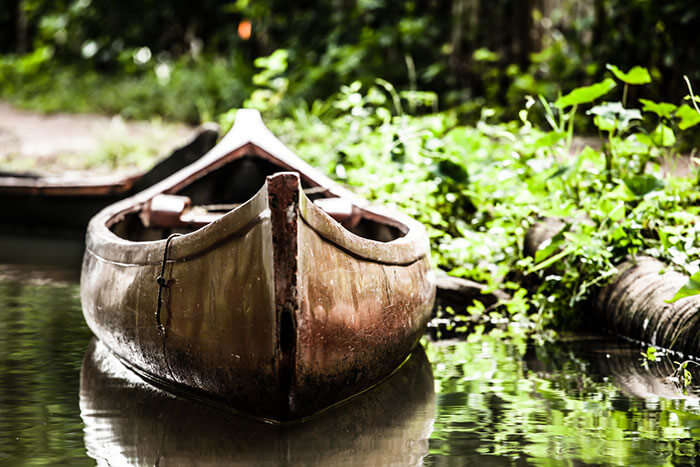 A canoe, ideal for a romantic ride on the backwaters in Alleppey
