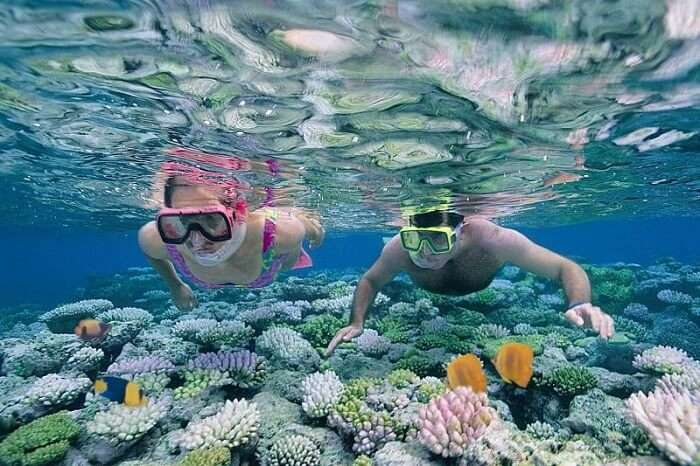 A couple snorkeling in Andaman