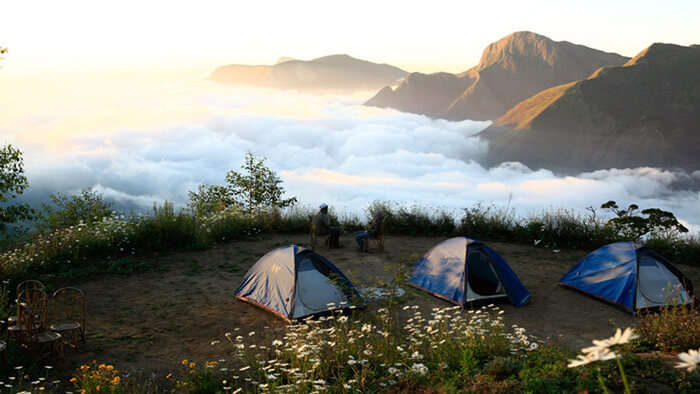 Camping tents set up at Top Station in Munnar, among the prominent Munnar tourist places