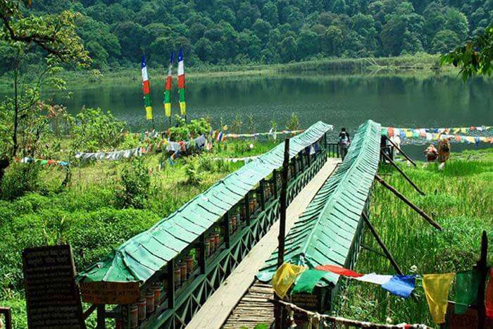 Bridge to the Khecheopalri Lake is a beautiful tourist attraction in Gangtok