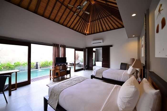bedroom in zoe villa with private pool view