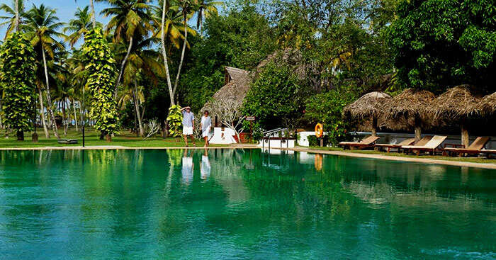 A couple in Marari Beach Resort that is one of the best resorts in Kerala