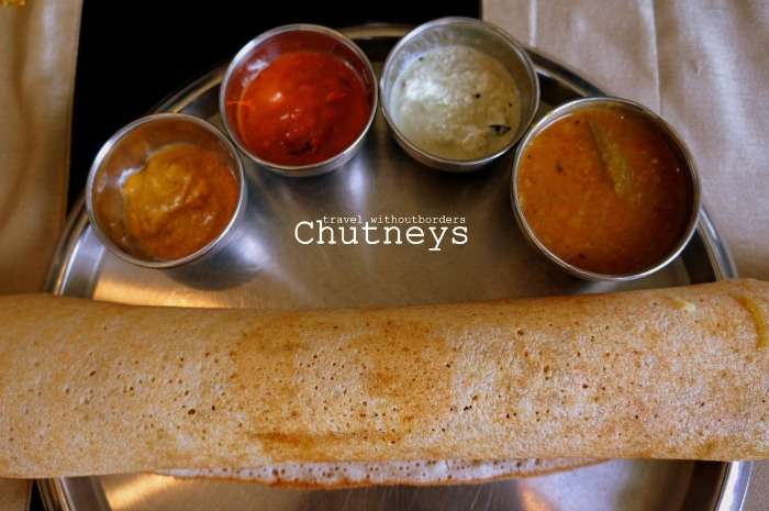 South Indian dishes including a dosa thali at Chutneys, Colombo