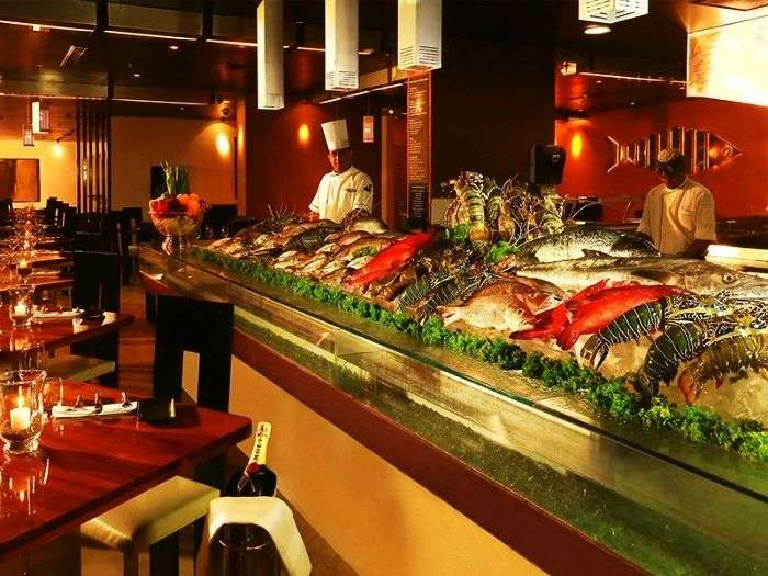 Dining seafood restaurant and Fish market at The Lagoon, Colombo