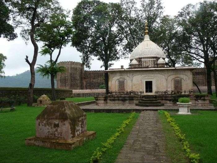 Ramnagar Palace fringed by eucalyptus trees, Udhampur