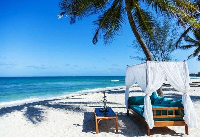 The blue azure skies and powdery sand at Mombasa beaches