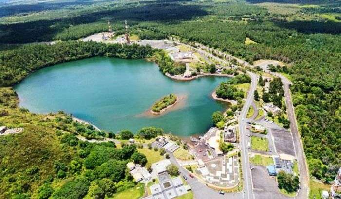 A bird's eye view of the Grand Bassin lake, Mauritius