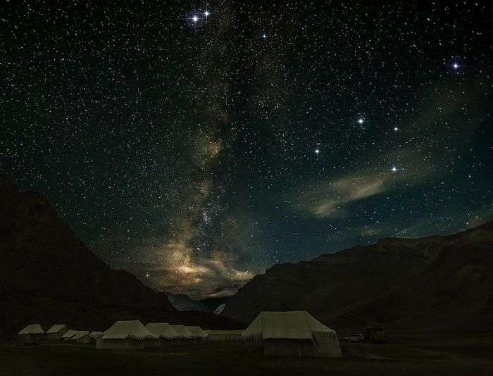 Clear Night Sky in Spiti Valley scattered with