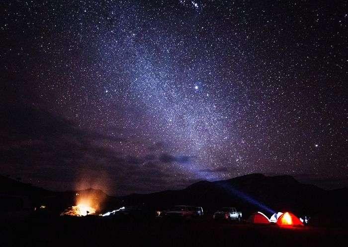 Star studded night sky in Jaisalmer